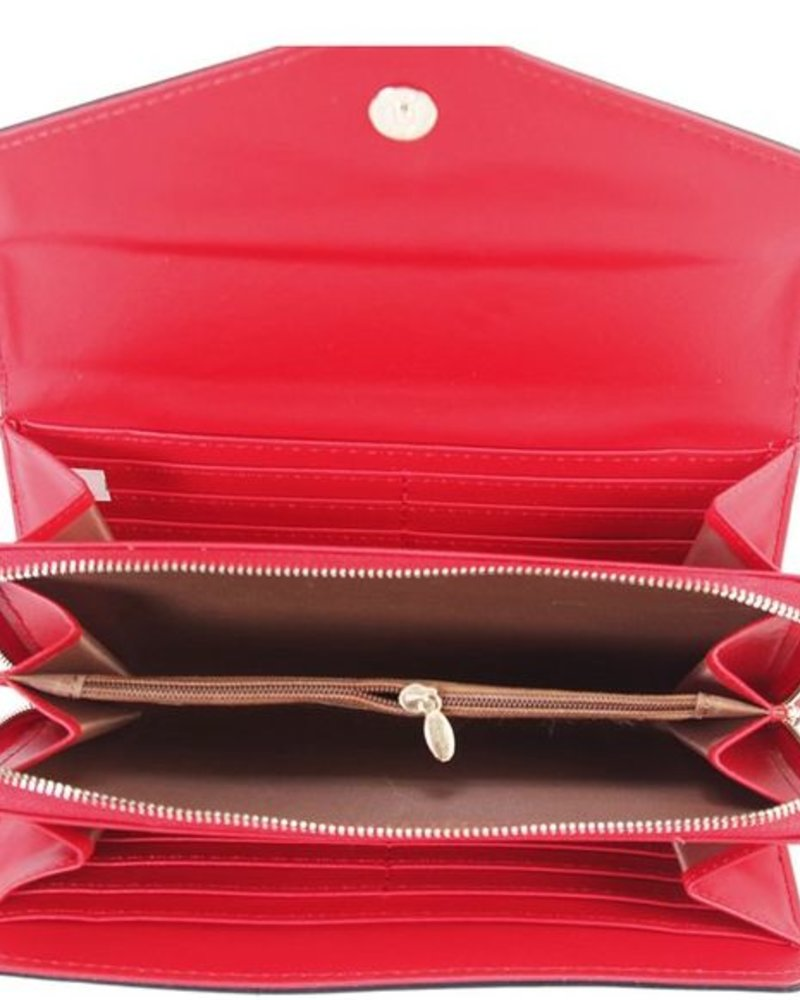 Faux Leather Wallet - Red
