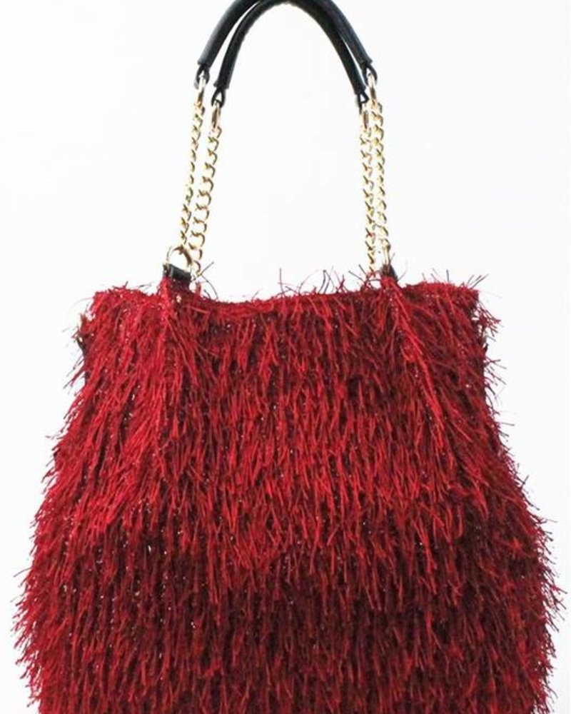 Red Trendy Faux Fur Seasonal Handbag