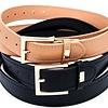 Black & Taupe Smooth Classy Belt Set