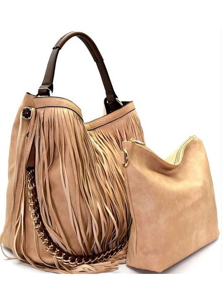 Brown Fringe 2 in 1 Hobo Bag