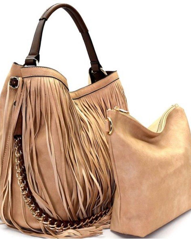 Brown Fringe 2 in 1 Hobo Bag
