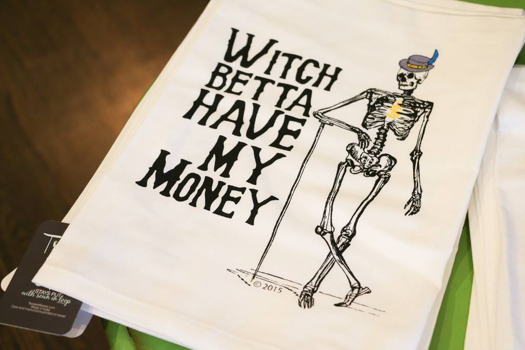 Witch Betta Have My Money Tea Towel