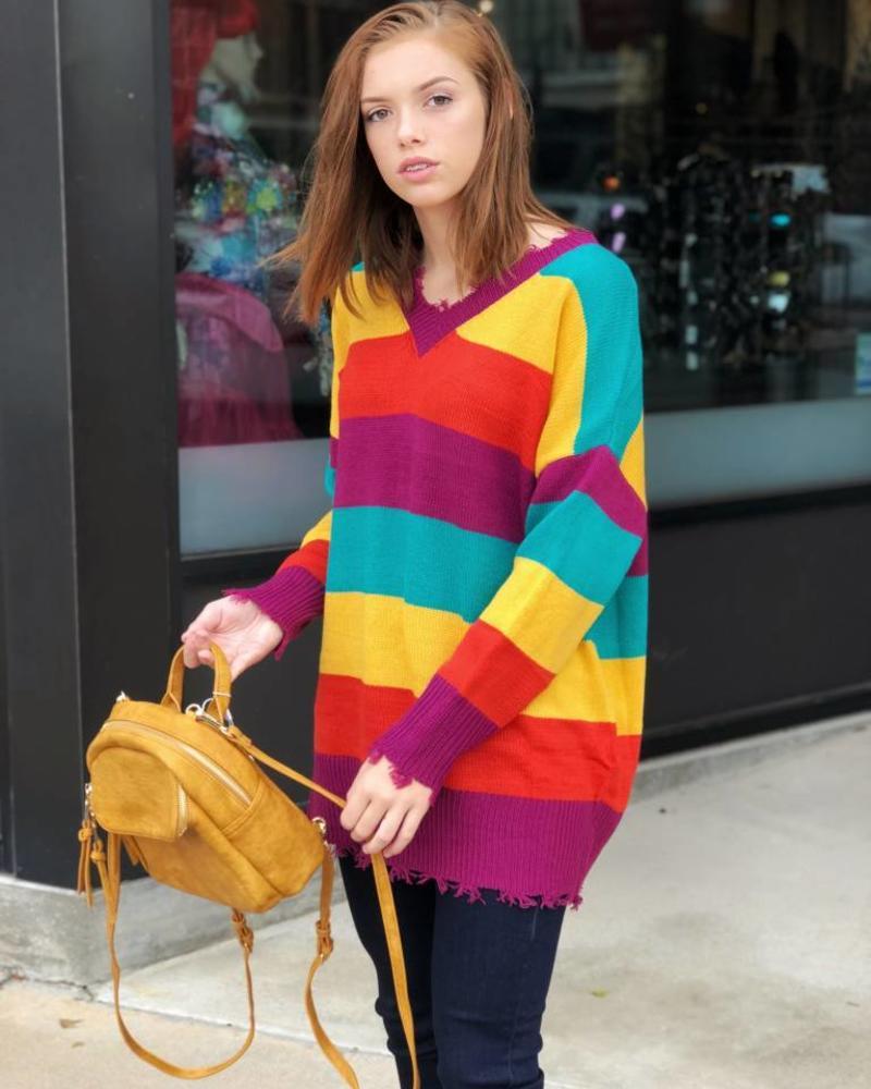 Wide Stripe Knit Sweater