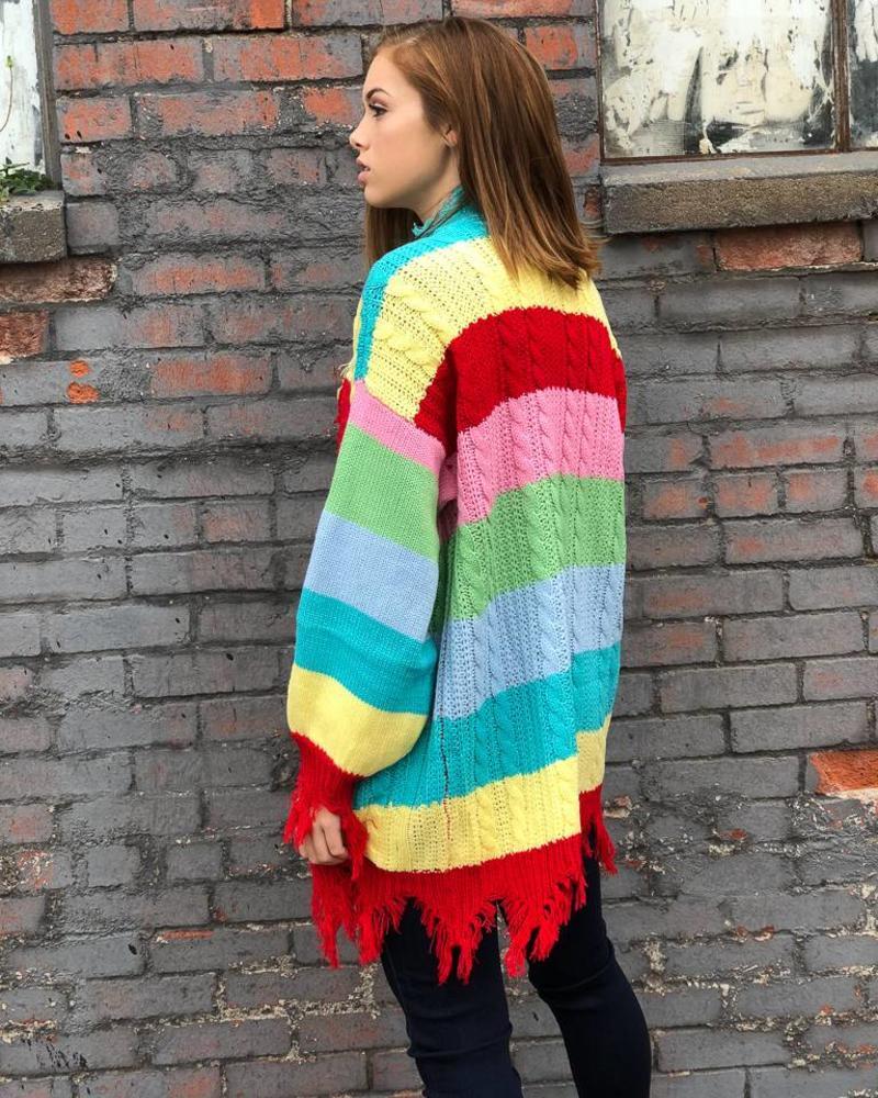 Wide Stripe Colorful Knit Tunic