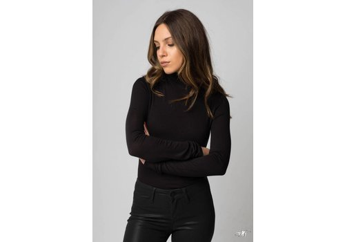 Twenty Tees Twenty Knit Funnel Neck Top in Black