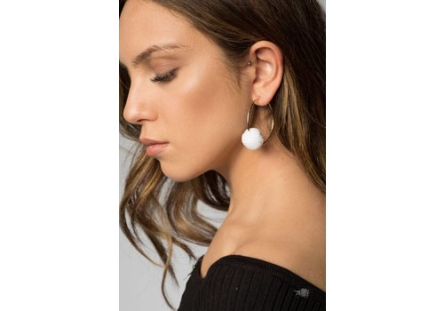 Nouveau Noir Carla Hoop Earrings in White