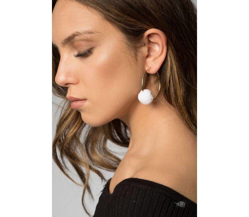 Carla Hoop Earrings in White