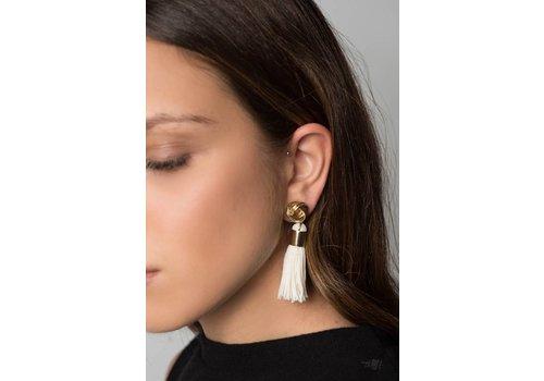 Nouveau Noir Naomi Fringe Earring in White