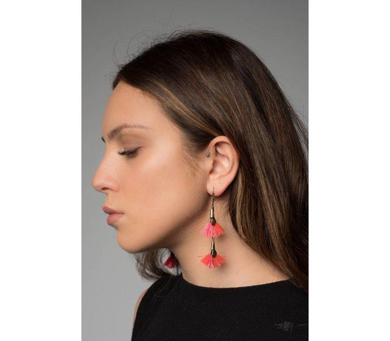 Lina Tassel Earring in Pink