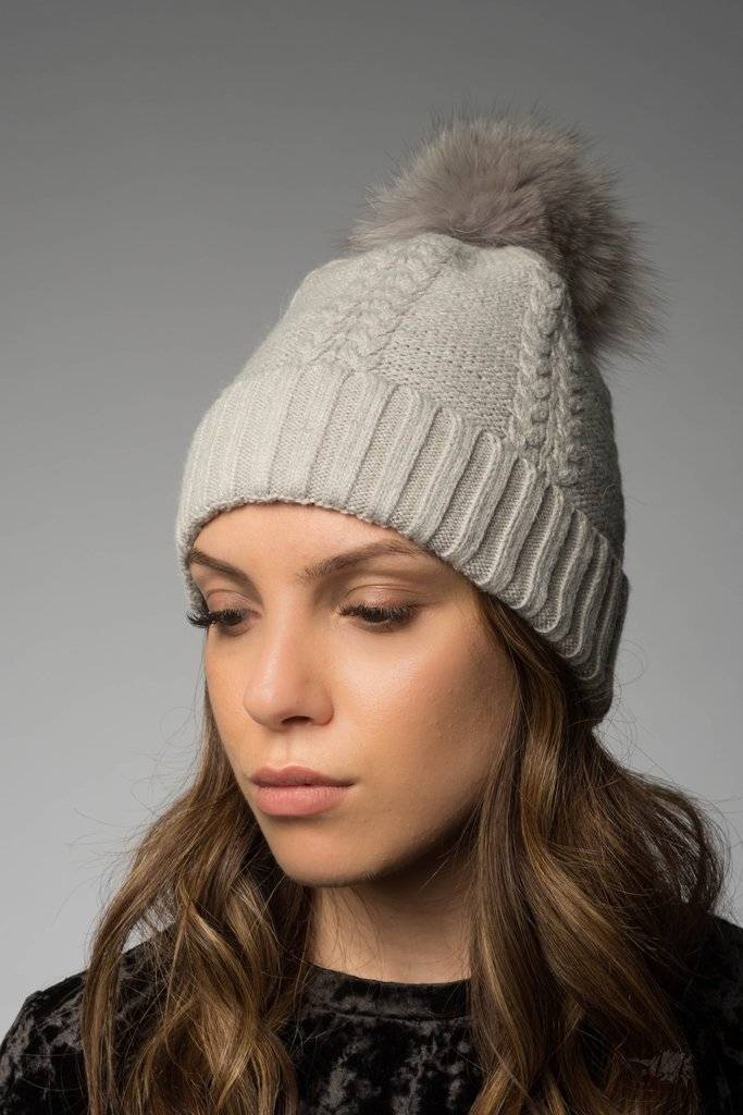 0b41b93f8a2 Soho Luxe Cable Knit Beanie Grey