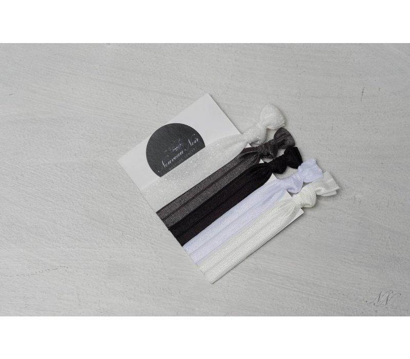 Nouveau Noir Creaseless Elastics in Monochrome - Nouveau Noir Boutique