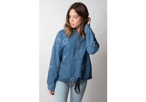 Nouveau Noir Wish Upon A Star Denim Hoodie