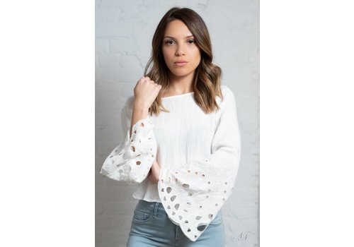 Moon River Caspian Back Tie Top White
