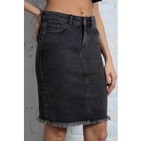 Eliza Raw Edge Denim Skirt