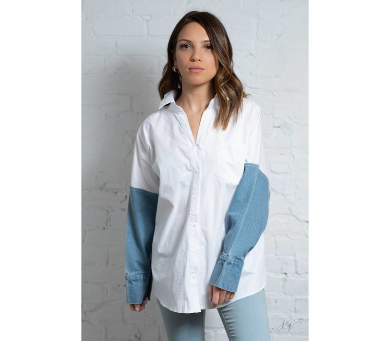 Tommy BF Button Down Top Denim