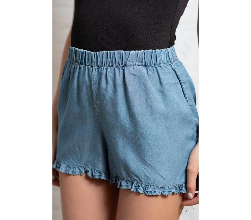 Gigi Frill Denim Shorts