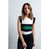 Knit Striped Top Ruffled Green