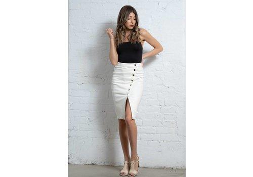 Evidnt Asymmetrical Btn Pencil Skirt white