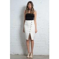 Asymmetrical Btn Pencil Skirt white