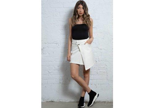 Evidnt Raw Hem Mini Skirt White