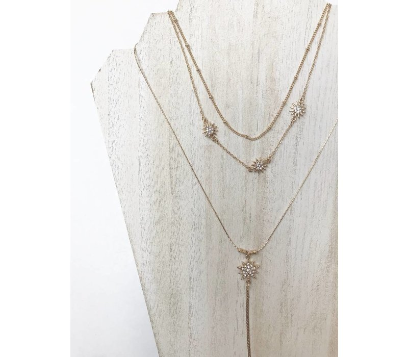 Nikki Layered Star Necklace Gold