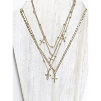 Anya Layered Cross Necklace Gold