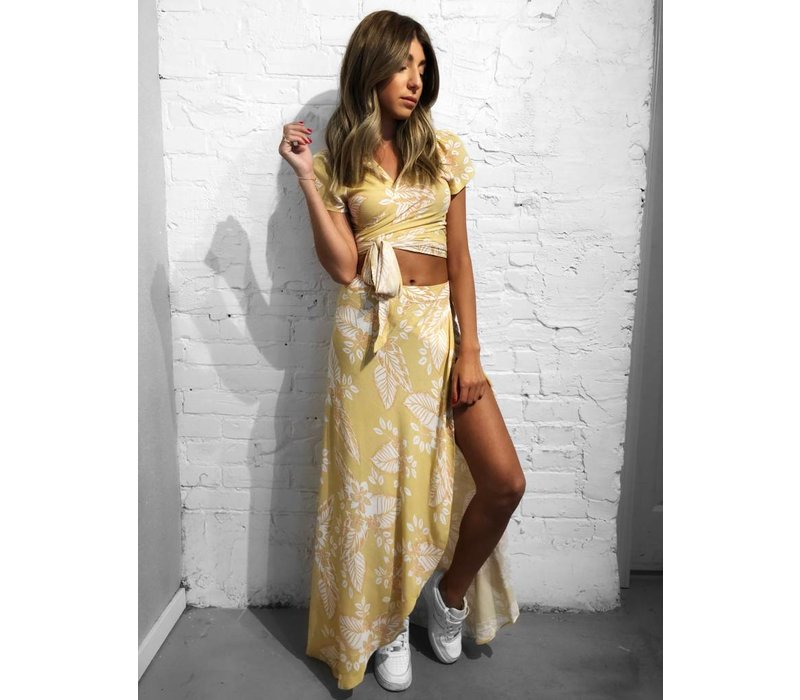Luna Wrap Slit Skirt Honey