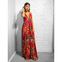 Sicily Floral Gown Red