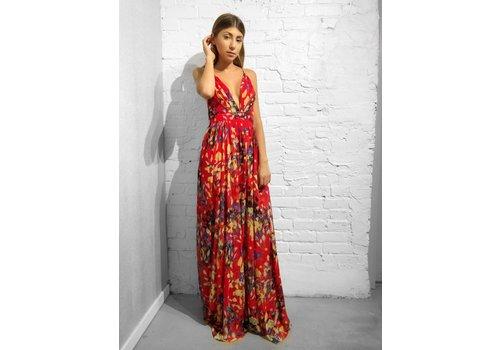 Nouveau Noir Sicily Floral Gown Red