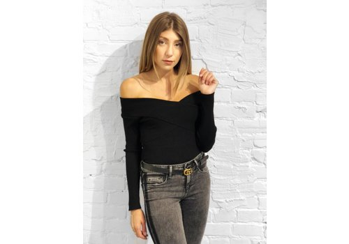 J.O.A Criss Cross Ribbed Top Black