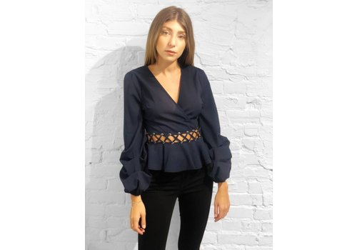 J.O.A Tiered Slv Peplum Top Navy