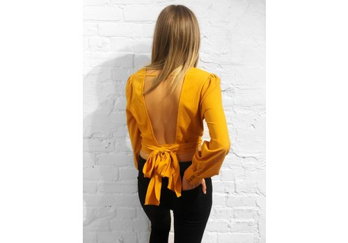 J.O.A Open Back Wrap Top Marigold