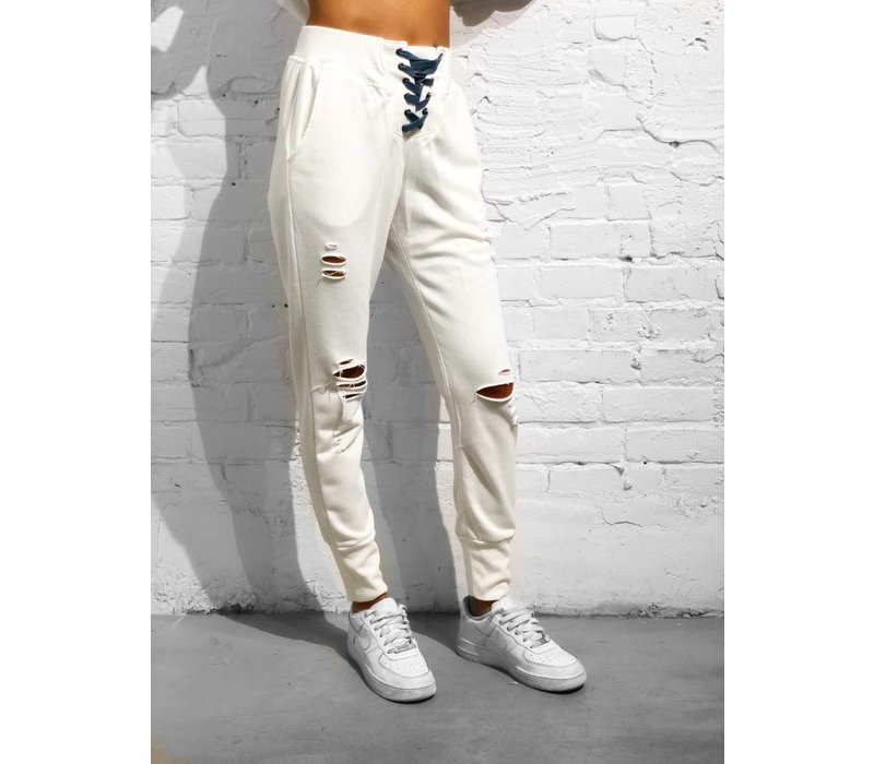 Ryder Lace Up Joggers White