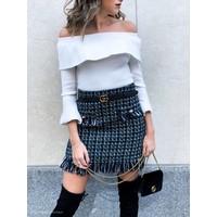 Coco Tweed Fringed Mini Skirt