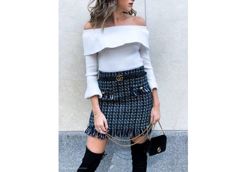 J.O.A Coco Tweed Fringed Mini Skirt