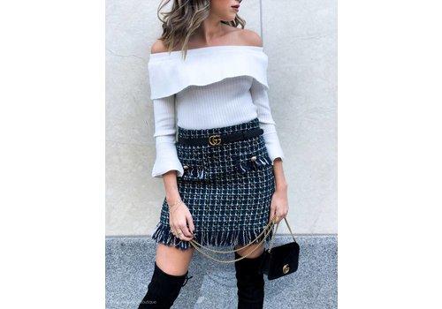 J.O.A Coco Tweed Fringed Mini Skirt