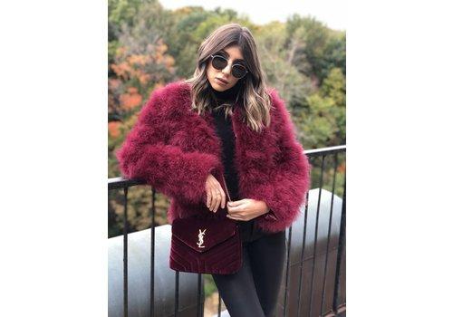 Nouveau Noir Belledonne Ostrich Feather Jacket Merlot **FINAL SALE**