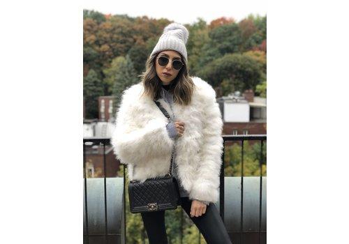 Nouveau Noir Belledonne Ostrich Feather Jacket White **FINAL SALE**