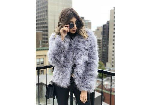 Nouveau Noir Belledonne Ostrich Feather Jacket Ice Grey **FINAL SALE**