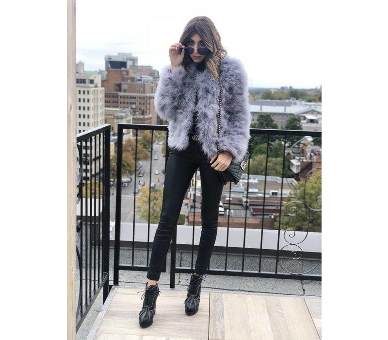 Belledonne Ostrich Feather Jacket Ice Grey **FINAL SALE**