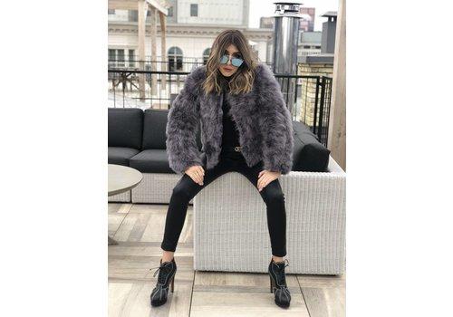 Nouveau Noir Belledonne Ostrich Feather Jacket Lavender Grey **FINAL SALE**