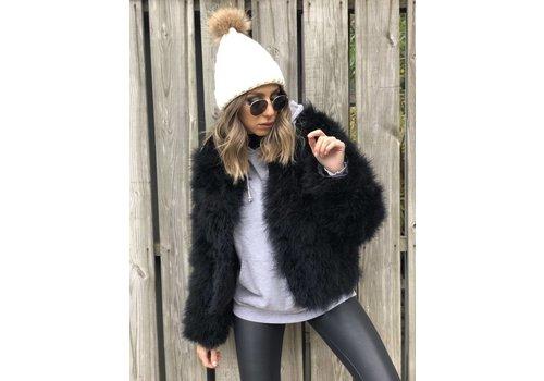 Nouveau Noir Belledonne Ostrich Feather Jacket Black **FINAL SALE**