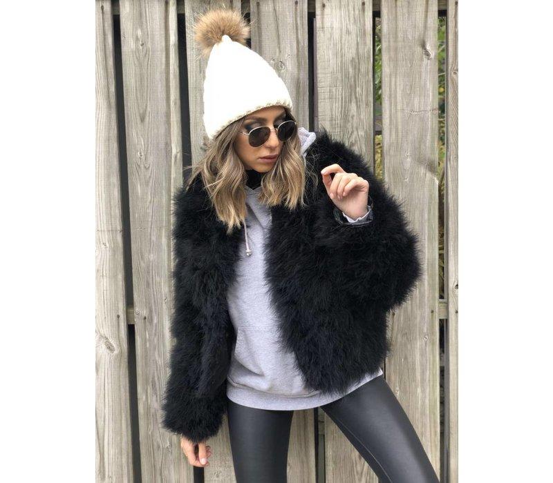 Belledonne Ostrich Feather Jacket Black **FINAL SALE**