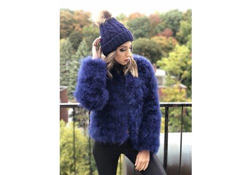 Nouveau Noir Belledonne Ostrich Feather Jacket Sapphire **FINAL SALE**