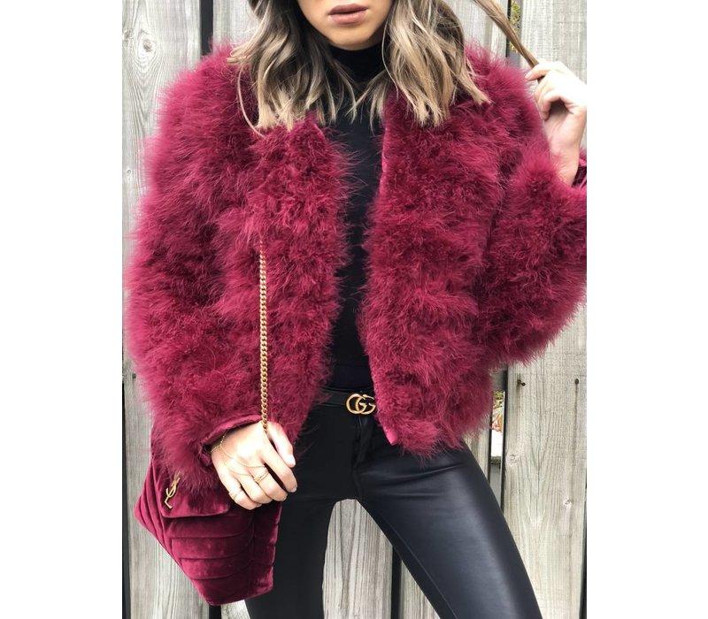 Belledonne Ostrich Feather Jacket Merlot **FINAL SALE**