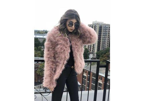 Nouveau Noir Belledonne Ostrich Feather Jacket Blush **FINAL SALE**