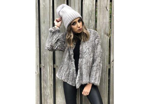 Nouveau Noir Courcheval Fur Jacket Grey Melange **FINAL SALE**