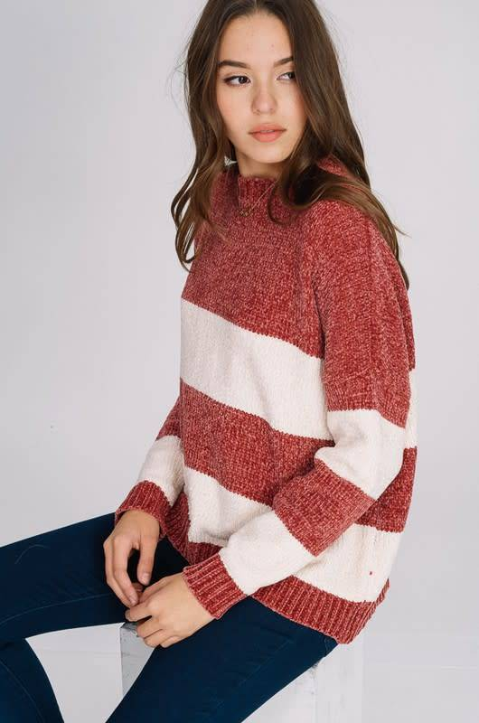 WIDE STRIPE CHENILLE SWEATER