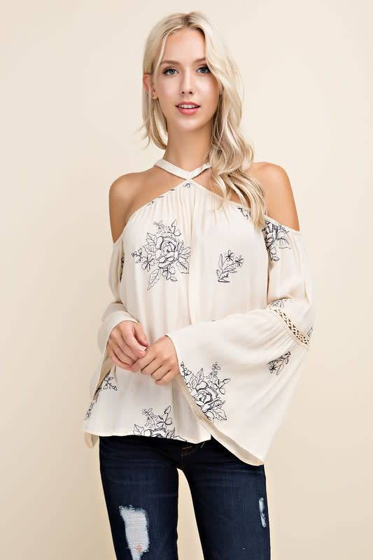 EMBROIDR COLD SHLDR HI NCK TOP