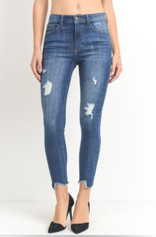 JUST USA DENIM HI RISE SKINNY W/ASYM FRAY HEM